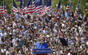 "U.S. Democratic presidential candidate Hillary Clinton delivers her ""official launch speech"" at a campaign kick off rally in Franklin D. Roosevelt Four Freedoms Park on Roosevelt Island in New York City, June 13, 2015.  REUTERS/Brendan McDermid  - RTX1GD6P"
