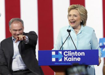 FILE - In this July 23, 2016 file photo, Democratic presidential candidate Hillary Clinton, accompanied by her running mate, Democratic Vice Presidential candidate Sen. Tim Kaine, D-Va., speaks at a rally in Miami.   (ANSA/AP Photo/Mary Altaffer, File)
