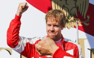 German Formula One driver Sebastian Vettel of Scuderia Ferrari celebrates after winning the Formula One Grand Prix of Hungary at the Hungaroring race track in Mogyorod near Budapest, Hungary, 26 July 2015.  EPA/SRDJAN SUKI