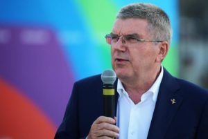 President of Olympic International Committee Thomas Bach speaks during a visit to the park Luiz Paulo Conde, in the Guanabara bay where the Olympic torch will remain during the olympic games, in Rio de Janeiro, Brazil, 27 July 2016.  EPA/Fernando Maia