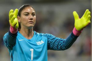 Goalkeeper Hope Solo of USA gestures during the women's first round group G match between USA and New Zealand of the Rio 2016 Olympic Games Soccer tournament at the Mineirao stadium in Belo Horizonte, Brazil, 16 August 2016.  EPA/DANIEL OLIVEIRA
