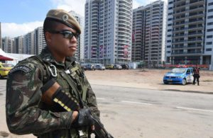 Brazilian army personnel are seen outside the Rio Olympic Games Athletes Village in Rio de Janeiro, Brazil, Sunday, July 31, 2016. The Rio 2016 Olympic Games take place from 05 to 21 August.  EPA/DAVE HUNT