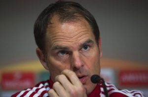 Ajax Amsterdam's head coach Frank De Boer speaks during a press conference in Glasgow, Britain, 25 November 2015. Ajax Amsterdam will face Celtic Glasgow in the UEFA Europa League soccer match on 26 November 2015.  ANSA/JAMES WILLIAMSON