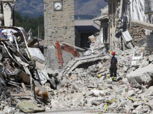 Firefighters clear rubble in Amatrice, central Italy, Monday, Aug. 29, 2016 where a 6.1 earthquake struck just after 3:30 a.m., Wednesday.(ANSA/AP Photo/Antonio Calanni)