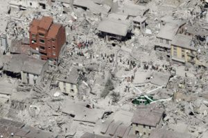 This aerial photo shows the damaged buildings in the historical part of the town of Amatrice, central Italy, after an earthquake, Wednesday, Aug. 24, 2016. The magnitude 6 quake struck at 3:36 a.m. (0136 GMT) and was felt across a broad swath of central Italy, including Rome where residents of the capital felt a long swaying followed by aftershocks. (ANSA/AP Photo/Gregorio Borgia)
