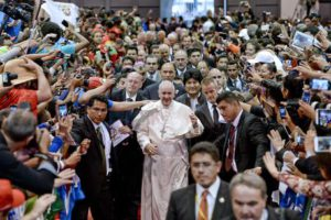 Pope Francis arrives at the second World Meeting of Popular Movements in Santa Cruz, Bolivia,  09 July 2015.  ANSA / CIRO FUSCO
