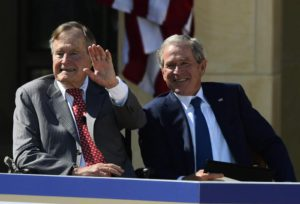 Former President George W. Bush (R) along with his father Former George H.W. Bush (L) at the ceremonial dedication of the George W. Bush Presidential Library on the campus of Southern Methodist University in Dallas, Texas, 25 April 2013.  EPA/LARRY W. SMITH