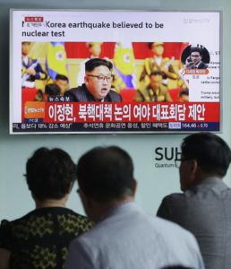 People watch a TV news program showing North Korean leader Kim Jong Un at the Seoul Railway Station in Seoul, South Korea, Friday, Sept. 9, 2016.  (ANSA/AP Photo/Ahn Young-joon)