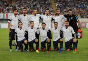 Italy's players before the start of the friendly match between Italy and France at San Nicola Stadium in Bari, 1 September 2016. ANSA/ TONY VECE