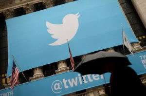 A banner with the logo of Twitter is set on the front of the New York Stock Exchange (NYSE) on November 7, 2013 in New York.  EMMANUEL DUNAND/AFP/Getty Images)