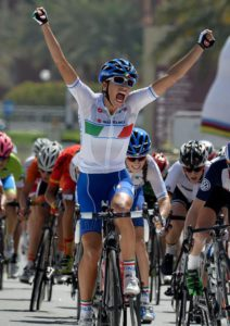 Elisa Balsamo of Italy celebrates while crossing the finish line to win the Women Junior Road Race over 74.5 km of the 2016 UCI Road Cycling World Championships in Qatar, Doha, 14 October 2016.  EPA/STR