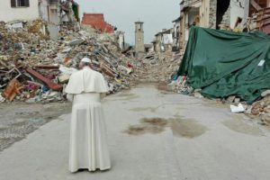 Pope Francis praying infront the ruins in Amatrice, Italy, 04 October 2016 as he arrives to meet people who survived the earthquake hit town of Amatrice. A devastating 6.0 magnitude earthquake early morning of 24 August left a total of 293 dead, according to official sources.  ANSA/MATTEO GUIDELLI