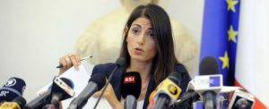 "Foto Fabio Cimaglia / LaPresse 21-09-2016 Roma Politica Campidoglio. Conferenza stampa sulle Olimpiadi ""Roma 2024"" Nella foto Virginia Raggi Photo Fabio Cimaglia / LaPresse 21-09-2016 Rome (Italy) Politic Campidoglio. Press Conference on the Olympics ""Roma 2024"" In the pic Virginia Raggi"