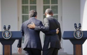 President Barack Obama and Italian Prime Minister Matteo Renzi leave after their joint news conference in the Rose Garden of the White House in Washington, Tuesday, Oct. 18, 2016. (ANSA/AP Photo/Pablo Martinez Monsivais)