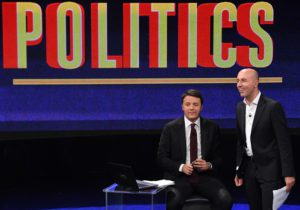 "Italian Prime Minister Matteo Renzi host of the Raitre Tv program ""Politics"", conducted by journalist Gianluca Semprini (R), in Rome, Italy, 11 October 2016. ANSA/ALESSANDRO DI MEO"