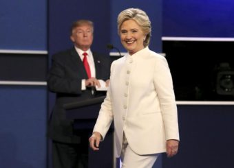 US Democratic candidate Hillary Clinton (R) and US Republican candidate Donald Trump (L) look on at the end of the final Presidential Debate at the University of Nevada-Las Vegas in Las Vegas, Nevada, USA, 19 October 2016. The debate is the final of three Presidential Debates and one Vice Presidential Debate before the US National Election on 08 November 2016.  EPA/GARY HE