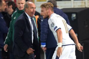 Ciro Immobile (R) of Italy celebrates with his coach Giampiero Ventura (L) after the FIFA World Cup 2018 qualifying soccer match between Macedonia and Italy at the Filip II Arena in Skopje, The Former Yugoslav Republic of Macedonia, 09 October 2016. Italy won 3-2.  ANSA/GEORGI LICOVSKI