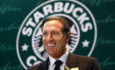 Starbucks Corp. CEO Howard Schultz smiles during a ceremony marking the 10th anniversary of the first open Starbucks coffee shop in Hong Kong Thursday, April 15, 2010.  (AP Photo/Kin Cheung)