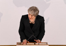 Theresa May durante il suo intervento.