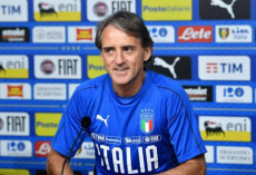 Roberto Mancini, ct dell'Italia, in conferenza stampa.
