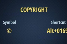 Copyright: simbolo e shortcut