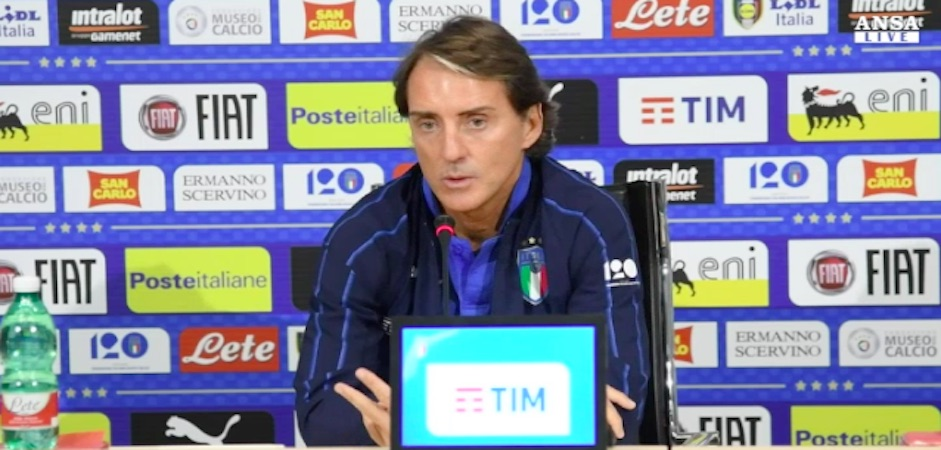 Il ct dell'Italia, Roberto Mancini, in conferenza stampa.